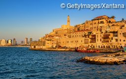 Skyline Jaffa old town and Tel Aviv Israel